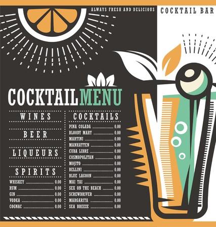 blue lagoon: Menu design template for cocktail lounge Illustration