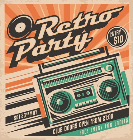 Retro party vector poster design concept