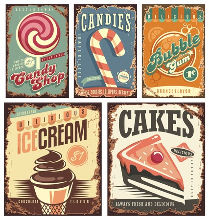 Vintage candy shop collection of tin signs Vectores