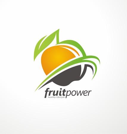 유기 건강 식품 벡터 기호 개념