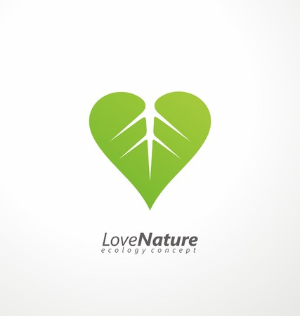 ecology emblem: Green leaf and heart shape symbol