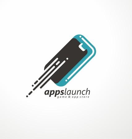 logo informatique: symbole de téléphone portable avec des sentiers de mouvement