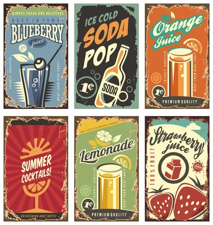 soda: Retro wall decor with juices and drinks set