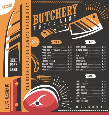 Butcher shop price list vector design Stock Illustratie