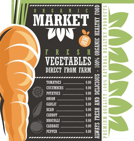 Farm Fresh Vegetables Market chalkboard price list Illustration