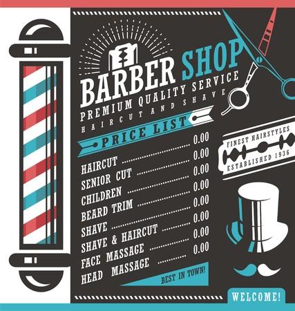 Barber Shop Cennik szablon wektora