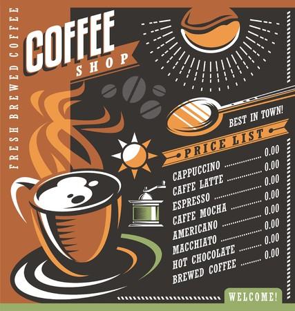 커피 하우스 메뉴 광고 소재 템플릿 일러스트