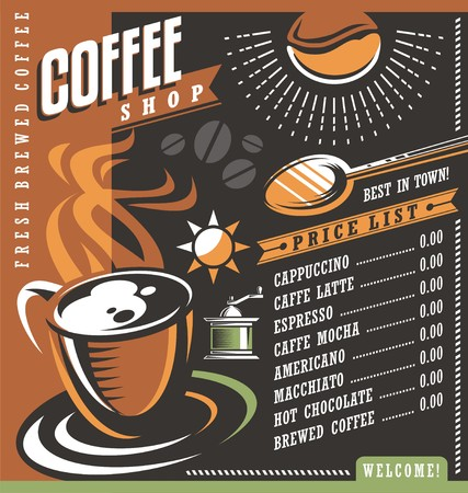 list: Coffee house menu creative template