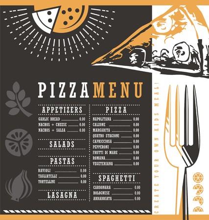 pizzeria label design: Pizzeria menu graphic design idea Illustration