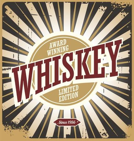 Whiskey rocznika znak cyny