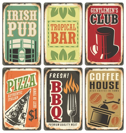 beer in bar: Retro metal signs vector set