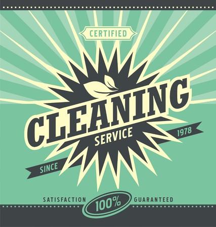 Diseño Anuncio del vintage para el servicio de limpieza