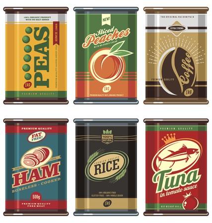 Vintage food cans 일러스트