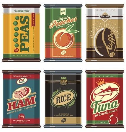canned fruit: Vintage food cans Illustration