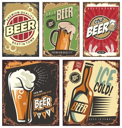 Retro beer vector signs set Çizim