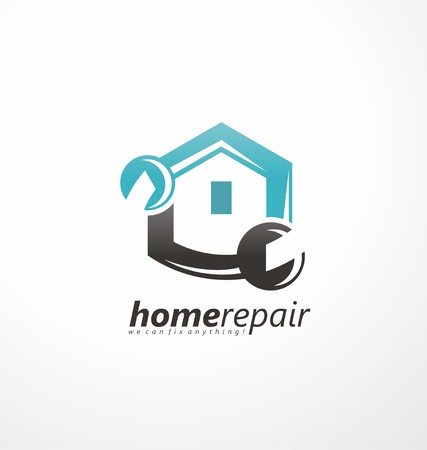 Home repair emblem with tool and symbol of a house