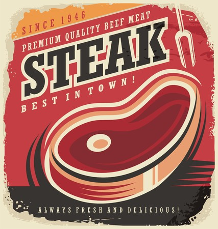 Steak house retro poster design concept