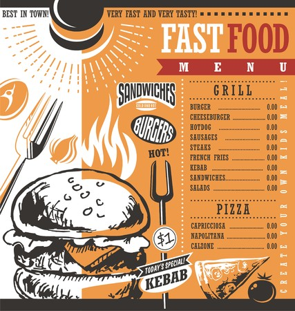 restaurant food: Fast food restaurant menu design idea Illustration