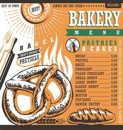 bakery price: Bakery shop vintage vector price list or menu design