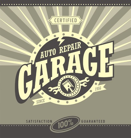 vintage sign: Classic garage retro banner design concept