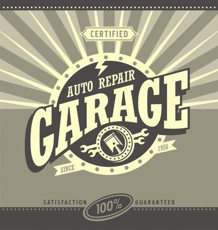 Klasyczny retro garażu projekt koncepcji