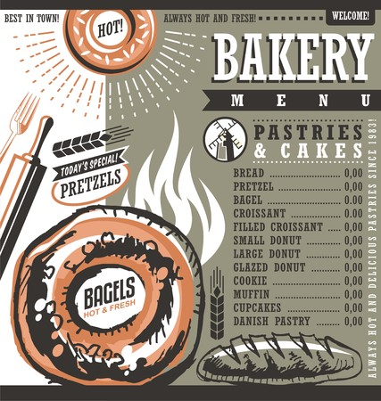 bakery price: Bakery shop retro vector price list or menu design layout Illustration