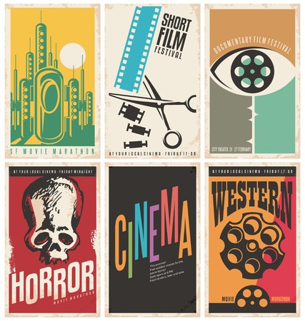 cinta pelicula: Colección de conceptos de diseño del cartel de película retro e ideas Vectores
