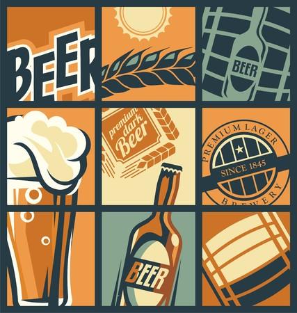 맥주 메뉴 개념 만화 스타일
