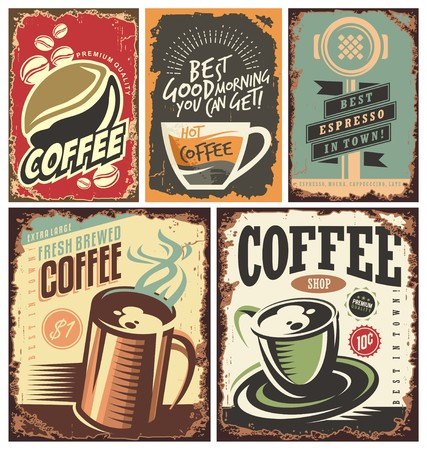 Set of retro coffee tin signs and posters.