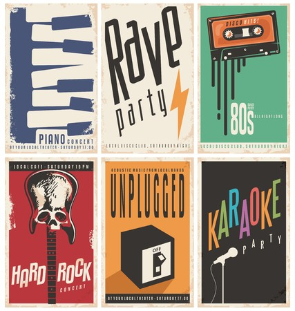 Retro music posters collection Stock Illustratie