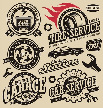motor oil: Retro car icons and labels collection Illustration