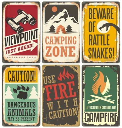 Set of retro outdoor camp signs and poster templates Illustration