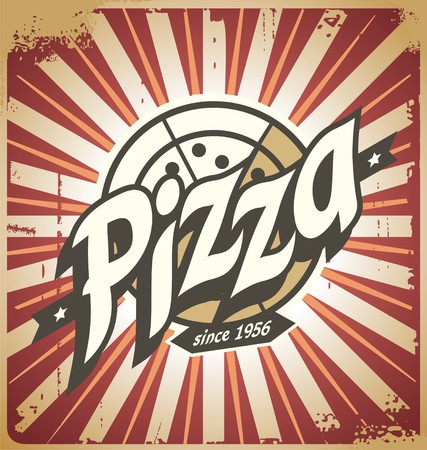 Retro pizza sign, poster, template or pizza box design Stock Illustratie