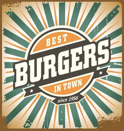 レトロなスタイルのハンバーガー記号