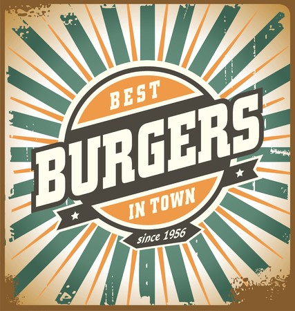 Retro style burger sign 免版税图像 - 56332534