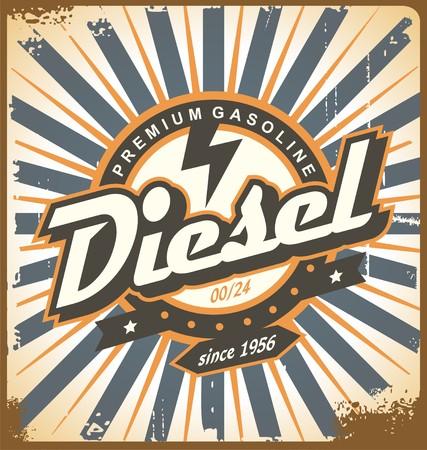 Diseño del cartel de la vendimia con el tema de combustible diesel