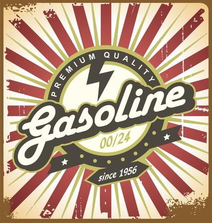 insignia: Diseño del cartel del retro con el tema de combustible para el transporte