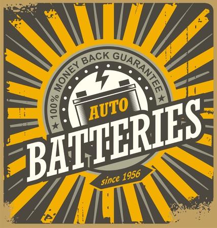 tin: Retro auto batteries tin sign design