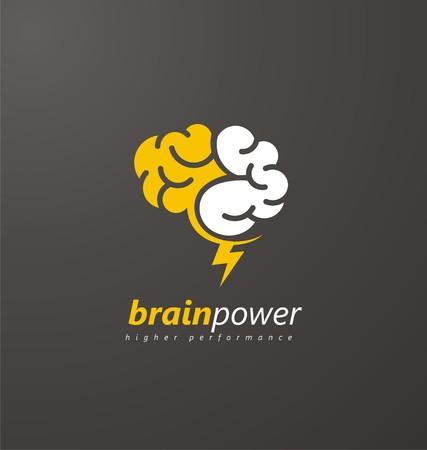 Símbolo del cerebro abstracto con el rayo amarillo sobre un fondo oscuro