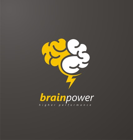 Abstract brain symbol with yellow thunderbolt on a dark background Vettoriali