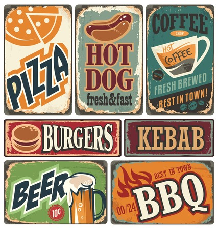 Retro food posters and design elements Çizim