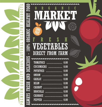 price list: Fresh Vegetables Market Creative Price List Design