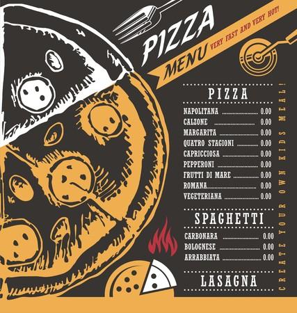menú de pizza diseño creativo concepto sobre fondo negro pizarra
