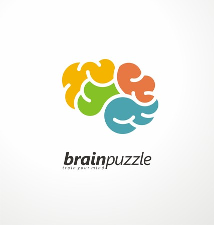 brain puzzle: Brain symbol made from puzzle pieces