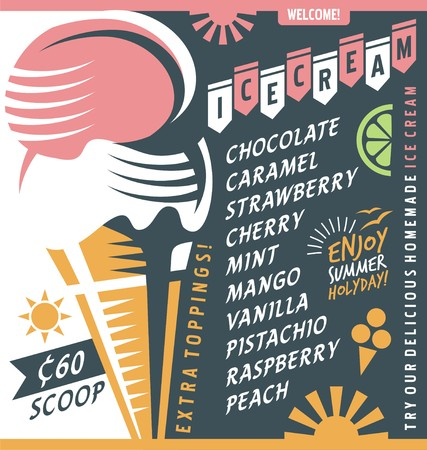 Ice cream vendor price list design template. template with two ice cream scoops in a cone. Vectores