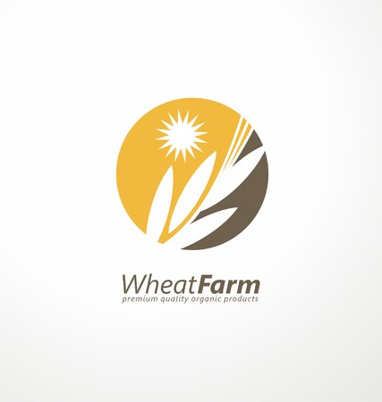 cereal plant: Farm fresh products unique sign or icon image Illustration