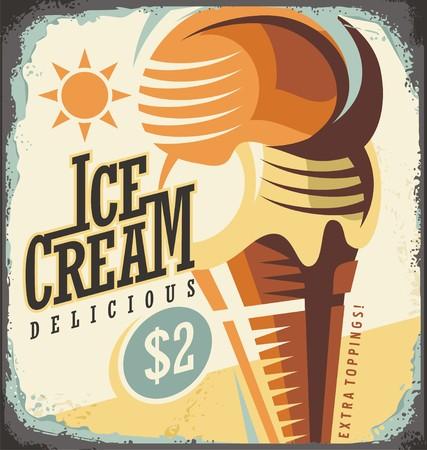 アイスクリーム レトロ ポスター デザイン コンセプト  イラスト・ベクター素材