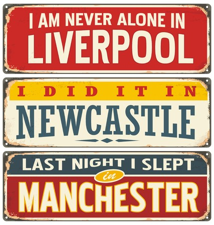 Retro tin sign collection with UK city names