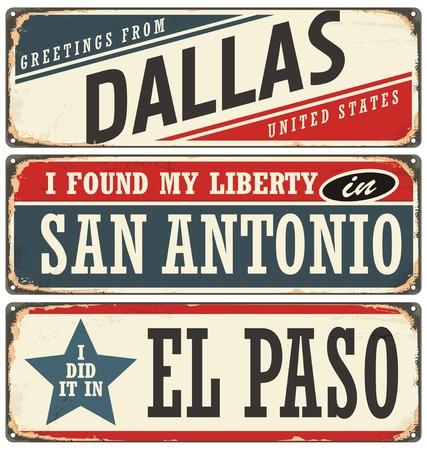 Retro tin teken collectie met de VS stadsnamen