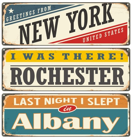 albany: Retro tin sign collection with USA city names